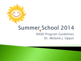 Summer School PowerPoint - Ripon Area School District