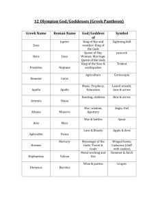Greek Pantheon chart