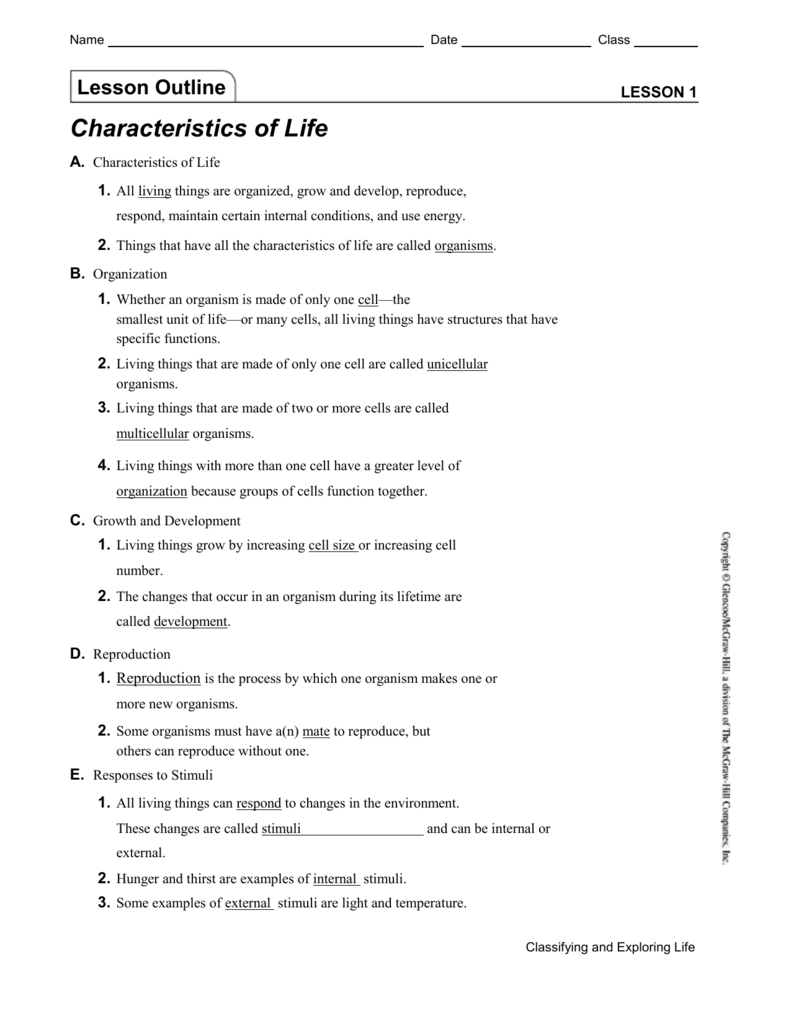worksheet Characteristics Of Living Things Worksheet Answers lesson outline with answers