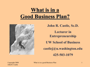 What is in a Good Business Plan?