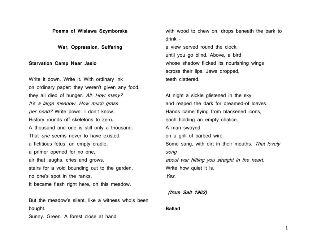 Poems Of Wislawa Szymborska