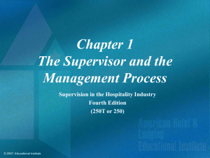 Supervision in the Hospitality Industry Chapter 1 Power Point