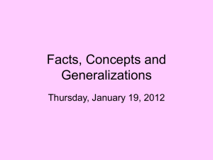Facts, Concepts and Generalizations - CI443