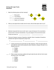 Driving with large trucks worksheet