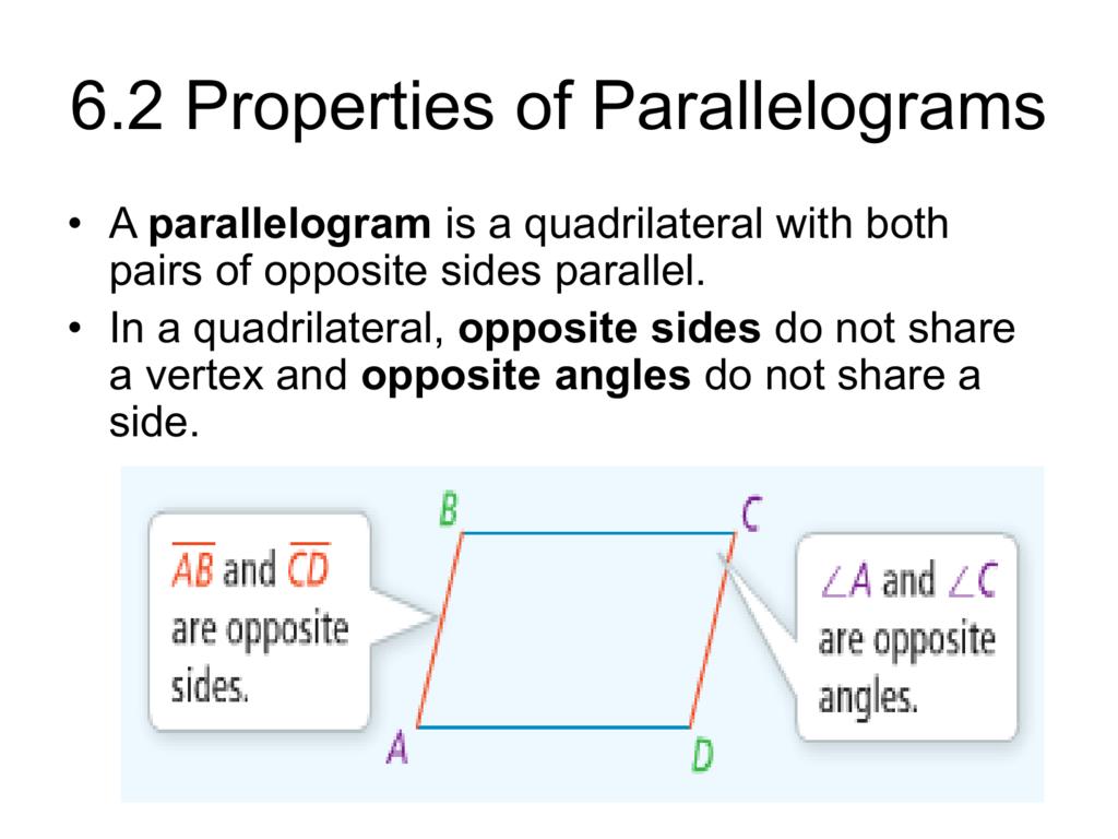 62 Properties Of Parallelograms