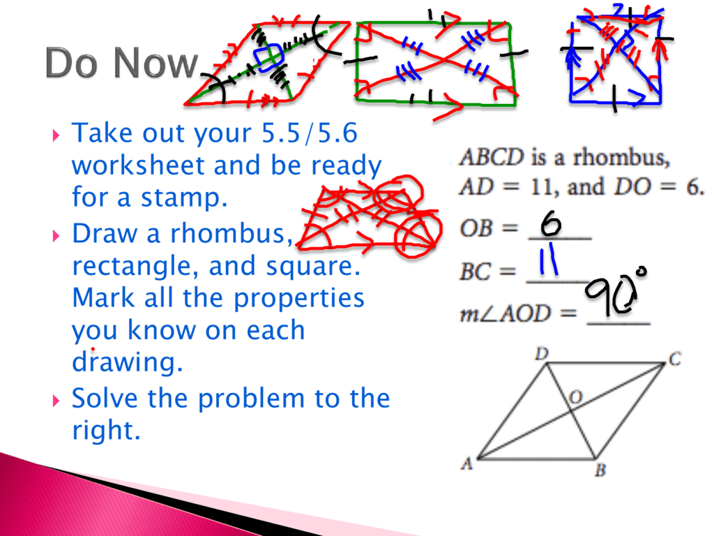 Areas of Rectangles and Parallelograms Inside Area Of Rhombus Worksheet