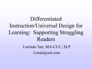 Differentiated Instruction/Universal Design for Learning