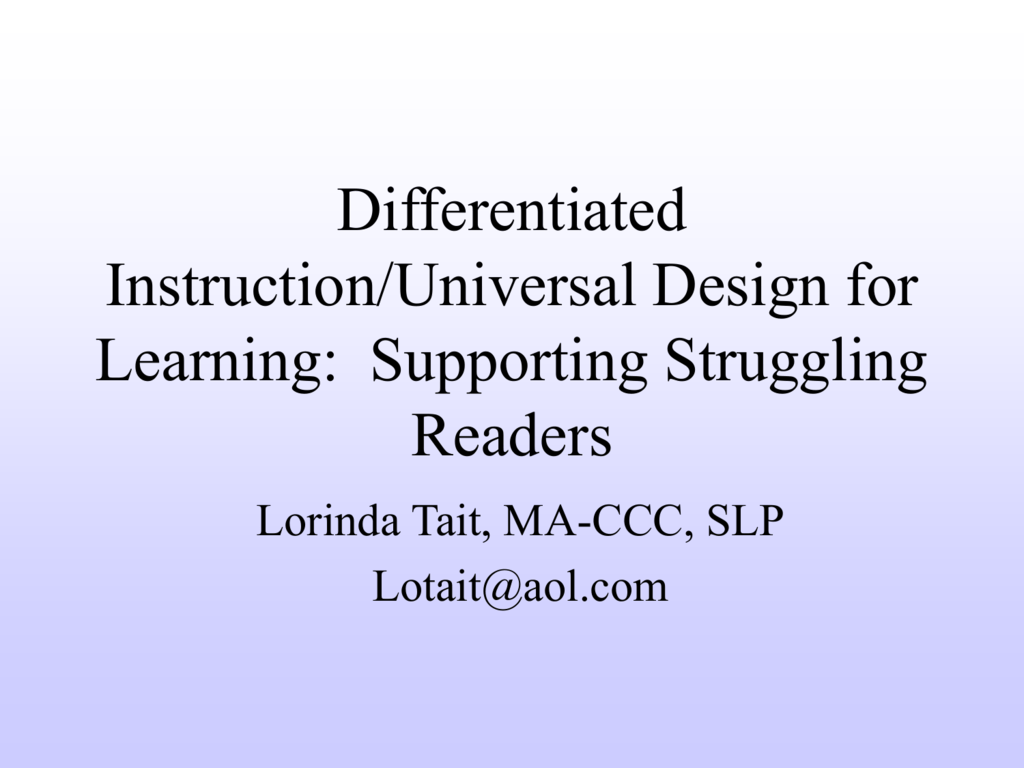 Differentiated Instruction Universal Design For Learning