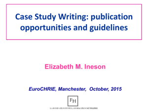 Case Study Writing: publication opportunities and