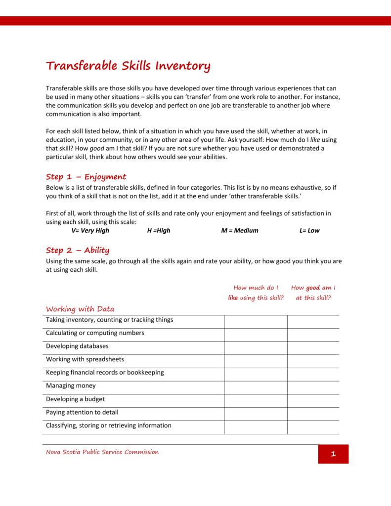 list of transferable skills
