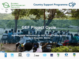 GEF Project Cycle Presentation