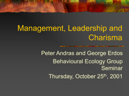 Management, Leadership and Charisma
