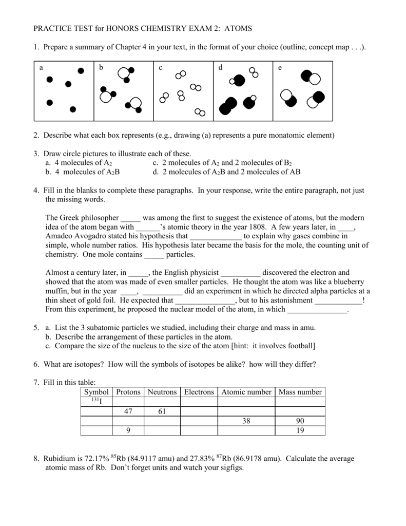 Practice test for honors chemistry biocorpaavc Gallery