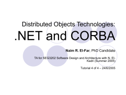 Distributed Objects Technologies: .NET and CORBA