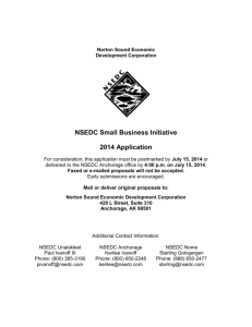 NSEDC Small Business Initiative 2014 Application