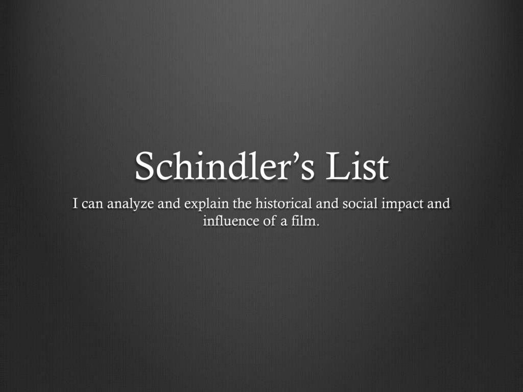 schindlers list film study