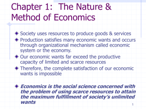 Economics is the social science concerned with the problem of