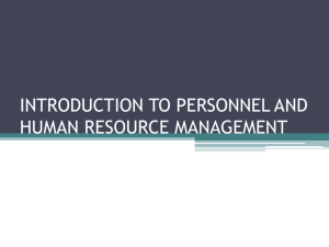 introduction to personnel and human resource