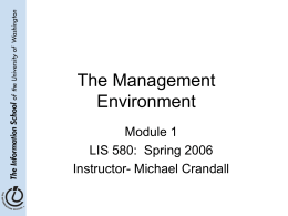 The Management Environment