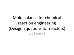 Mole balance for chemical reaction engineering