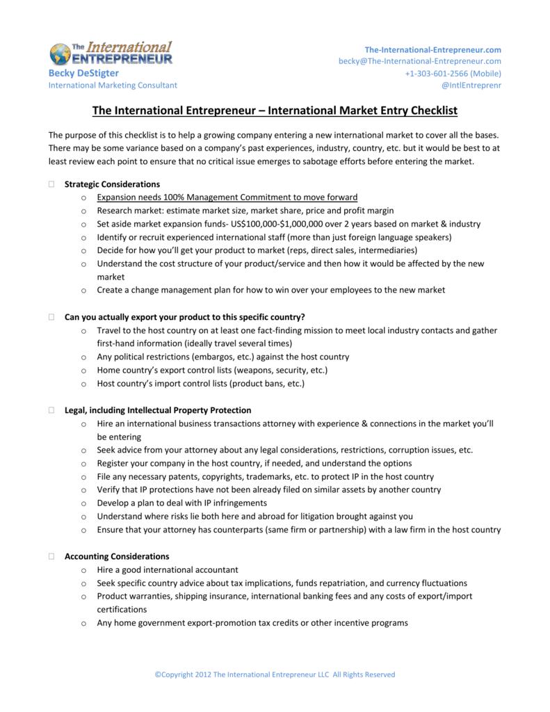 International Market Entry Checklist
