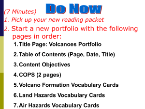 Title Page: Volcanoes Portfolio Table of Contents