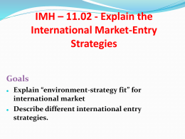 unit 11.2 Explain the International Market