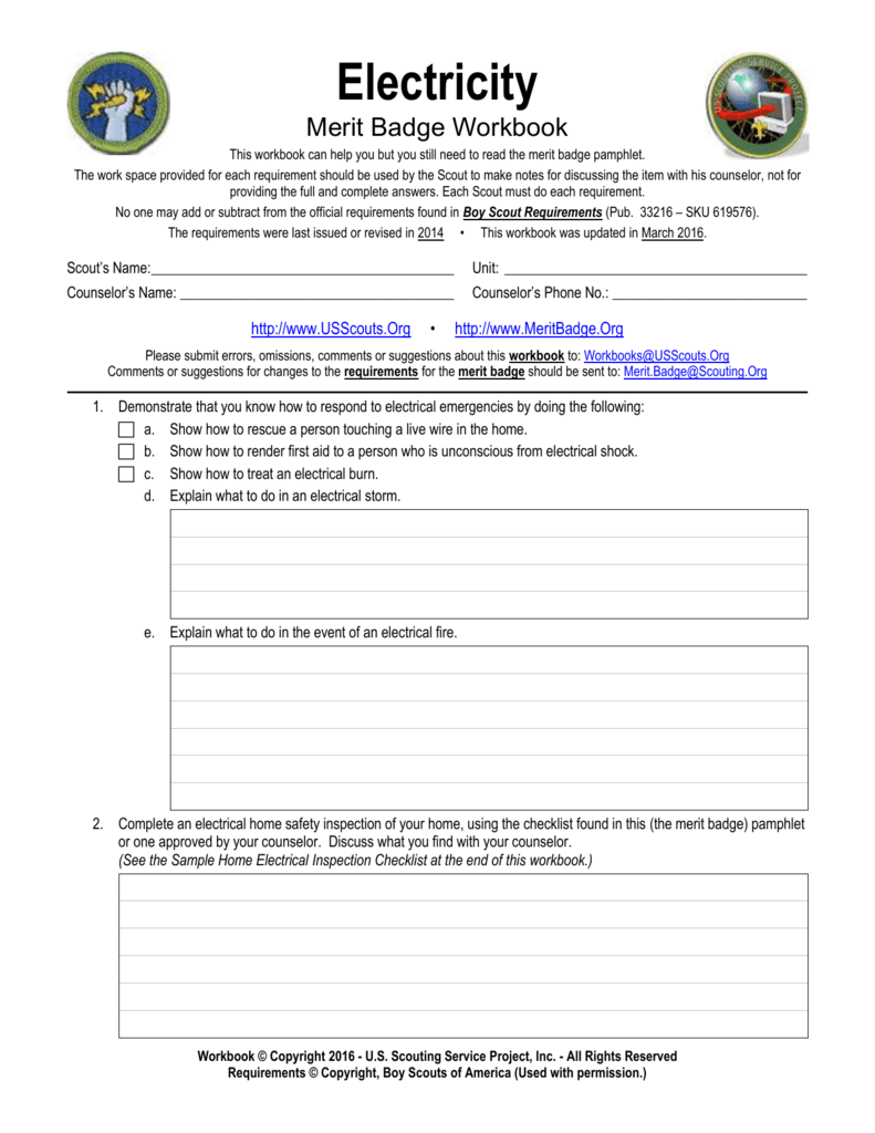 worksheet Fire Safety Merit Badge Worksheet electricity us scouting service project