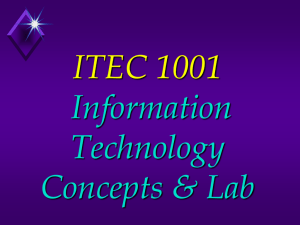 IT 1001 Introduction to Microcomputers
