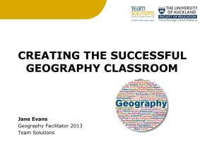 Creating The successful Geo classroom Term 2 Workshop
