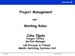 The Project Management Method at Ericsson