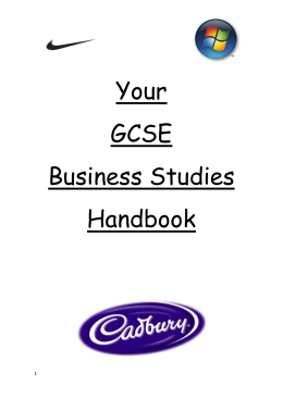 Business Studies GCSE Sept 2012