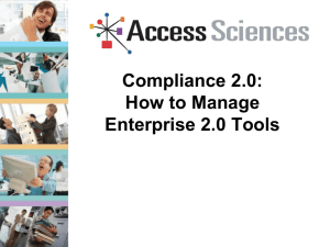 Compliance 2.0: How to Manage Enterprise 2.0 Tools