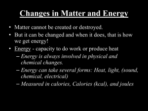 Changes in Matter and Energy