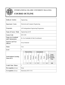 ECE 1201 Course Outline - International Islamic University Malaysia