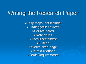 Writing the Research Paper Powerpoint