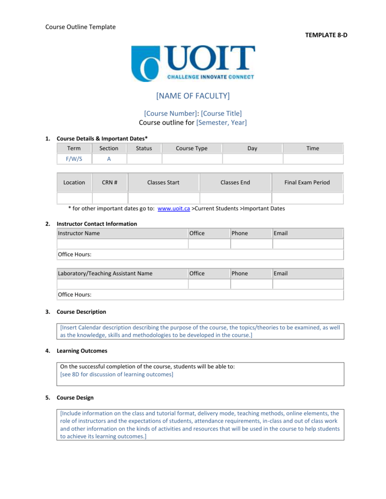 Course Outline Template Template 8