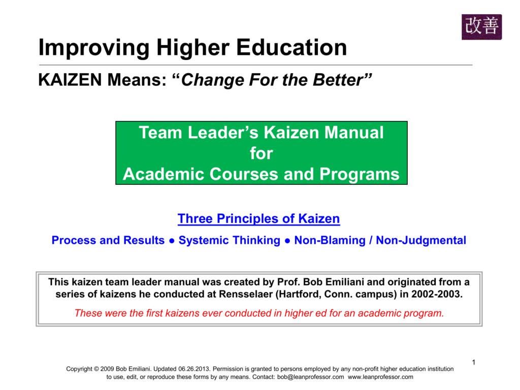 kaizen - The Lean Professor