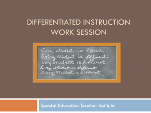 Differentiated instruction work session