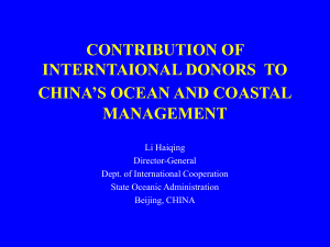 CONTRIBUTION OF GEF PROJECTS TO CHINA'S OCEAN AND