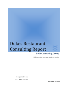 Dukes Restaurant Consulting Report