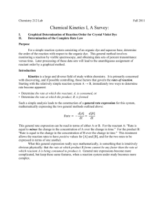 Chemistry 212 Lab Fall 2011 Chemical Kinetics I, A Survey: I