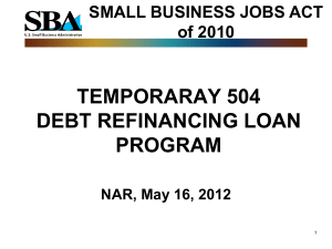 TEMPORARY 504 DEBT REFINANCE LOAN PROGRAM