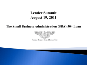 (SBA) 504 Loan - Federal Reserve Bank of Kansas City