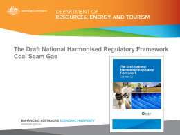 The National Harmonsised Regualtory Framework for Coal Seam Gas