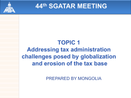 transfer pricing issues in mongolia - General Department of Taxation