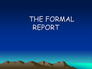 Formal Reports Lecture