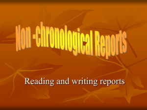 Non-Chronological Reports