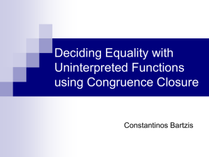Deciding Equality with Uninterpreted Functions using Congruence