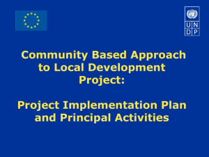 Project Implementation Plan and Principal Activities